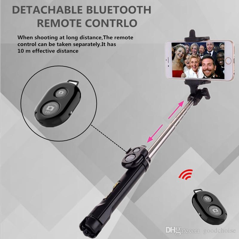 3 em 1 sem fio Bluetooth selfie vara Mini selfie tripé com controle remoto para Smart celular Monopod portátil