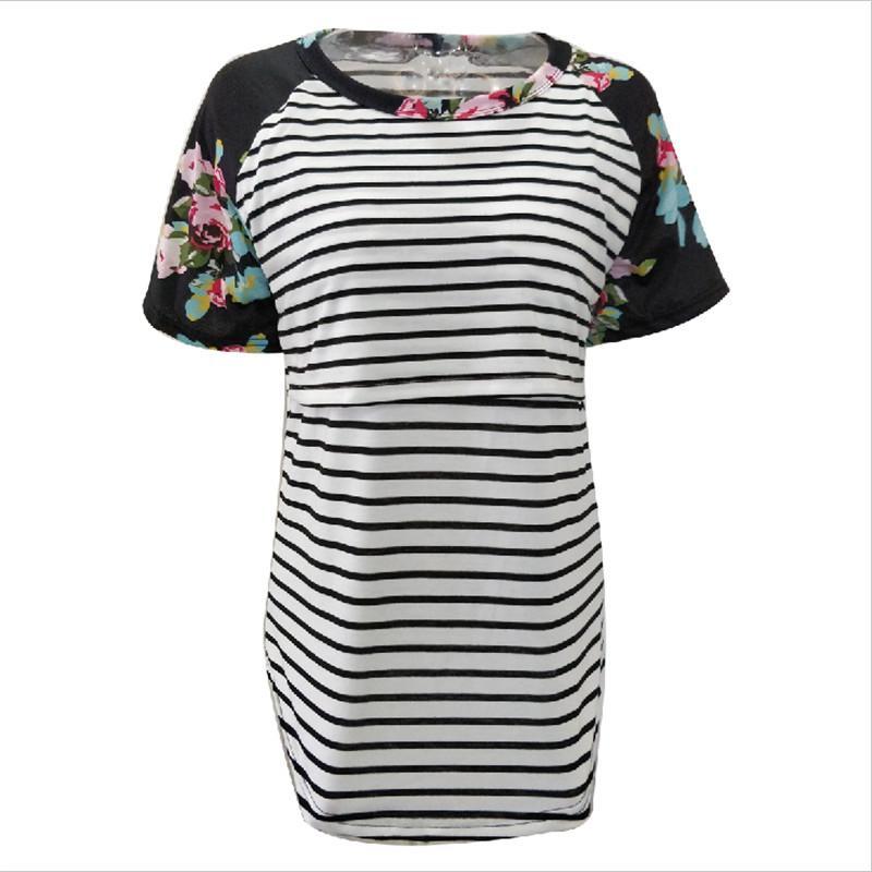 Plus Size Nursing Clothing Maternity Patchwork Nursing Tees Breastfeeding  Tops & Tees Summer Feeding T-shirt Maternity Clothes