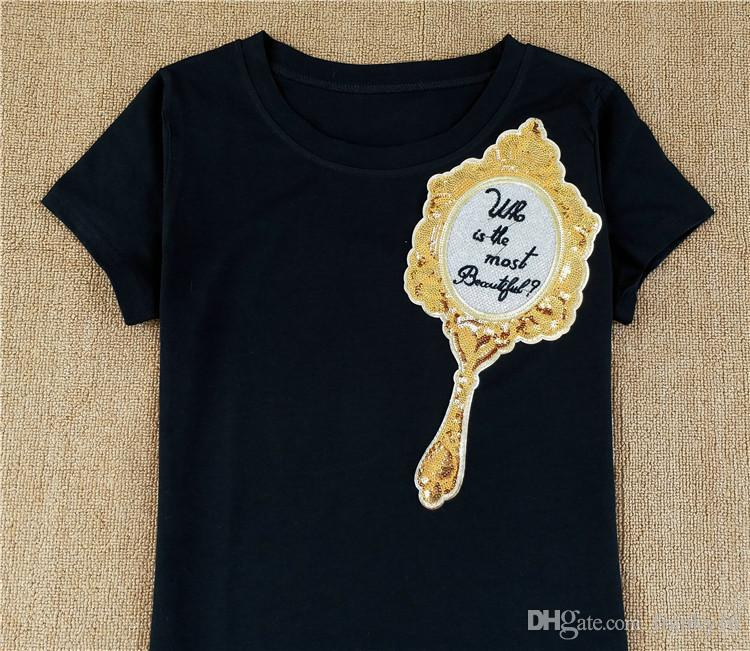 Negro blanco Tops Tees Womens lentejuelas Magic Mirror Print manga corta camiseta Casual europeo americano delgado algodón ropa camisa