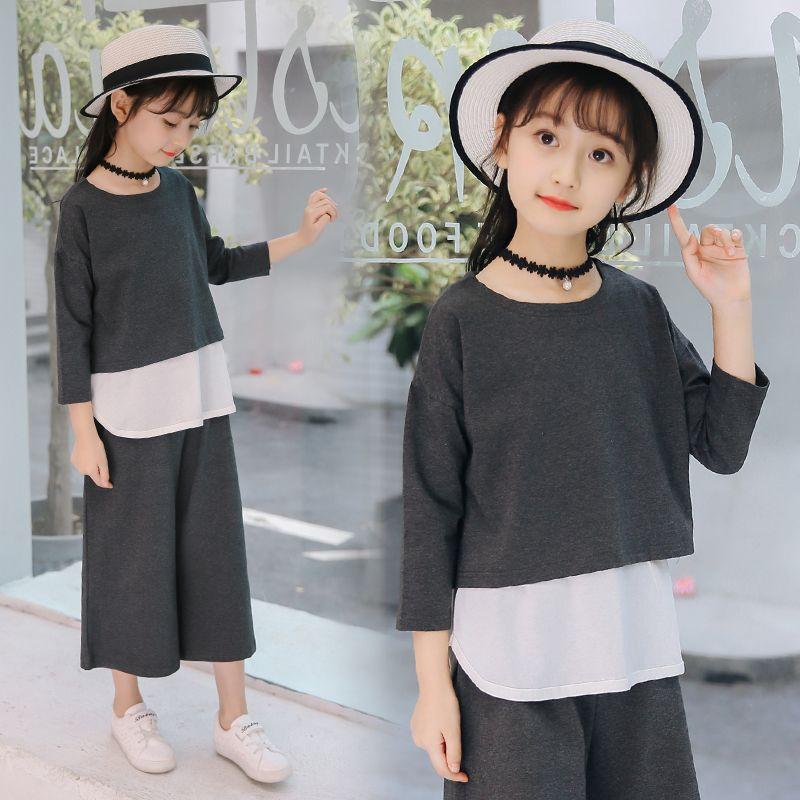 f8d4974c766e2 2018 New Summer Girls Clothes Sets Children's Clothing Fashion Girl Shirt  Top+Grey Shorts Suits 2018 Kids Clothing 3pcs set