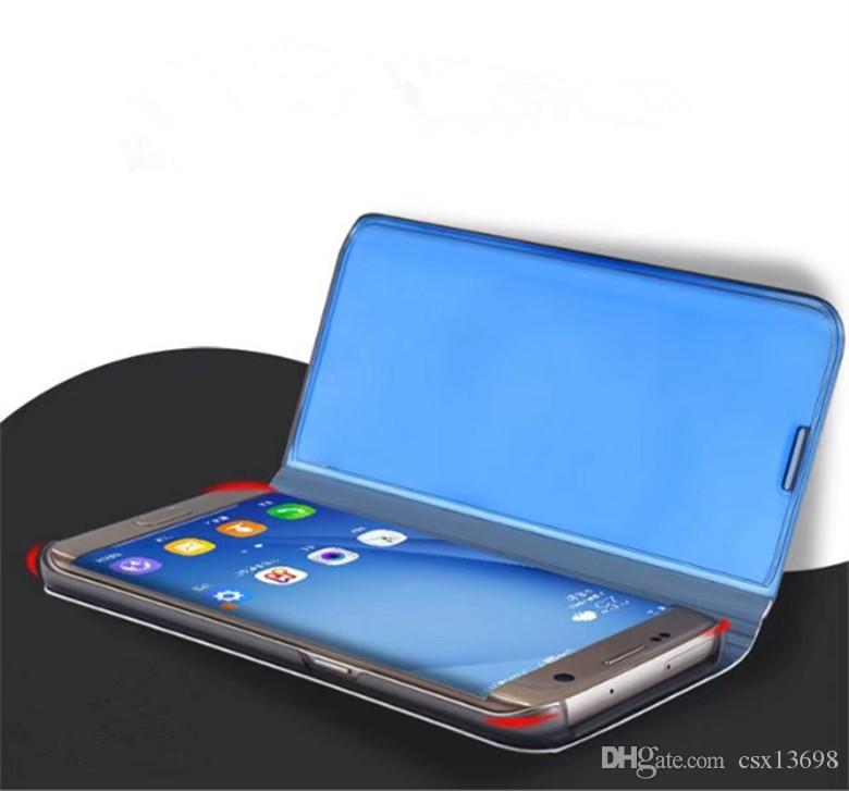 Official Mirror Wallet Case For iPhone X XS Max 8 7 Galaxy S9 S10 Note 10 9 8 Flip Leather Plating Smart Window View Holder Metallic Cover