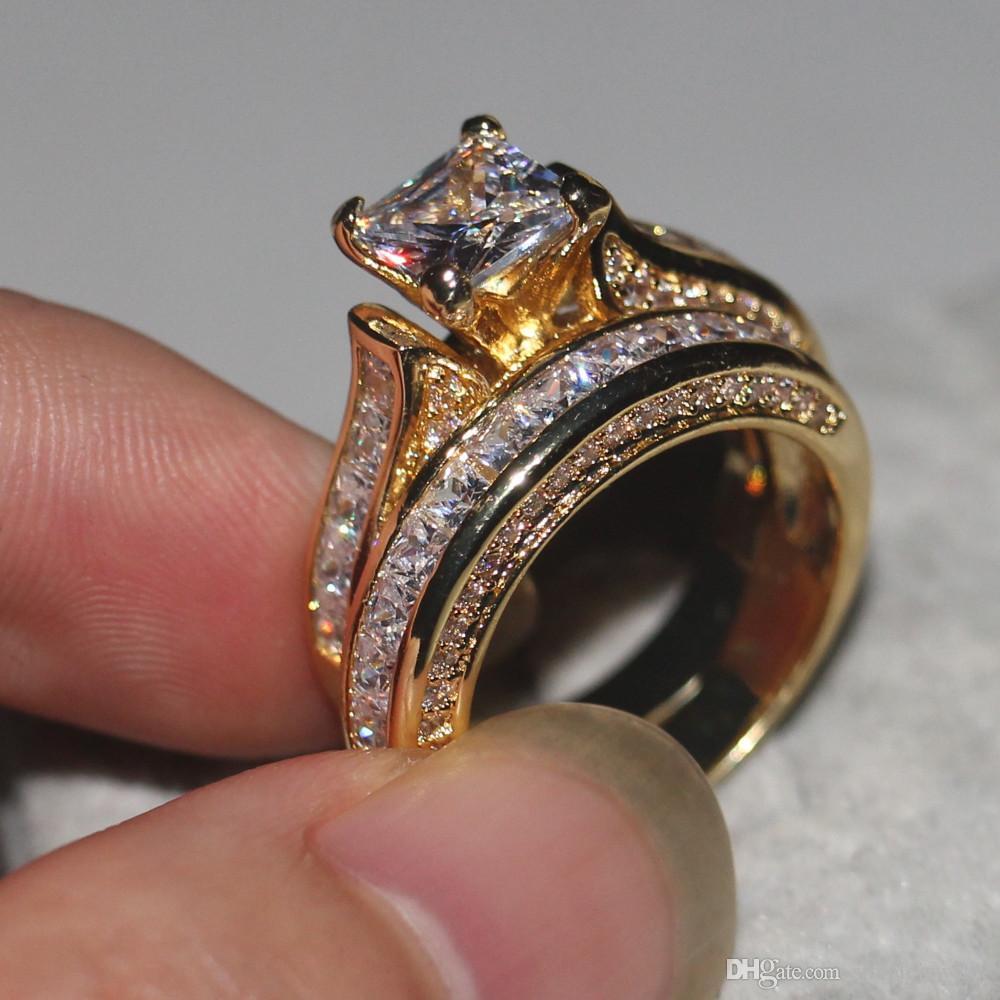 Dexule женщины мужчины ювелирные изделия кольцо Принцесса вырезать 2ct Алмаз 14KT желтого золота заполнены обручальное кольцо обручальное кольцо подарок