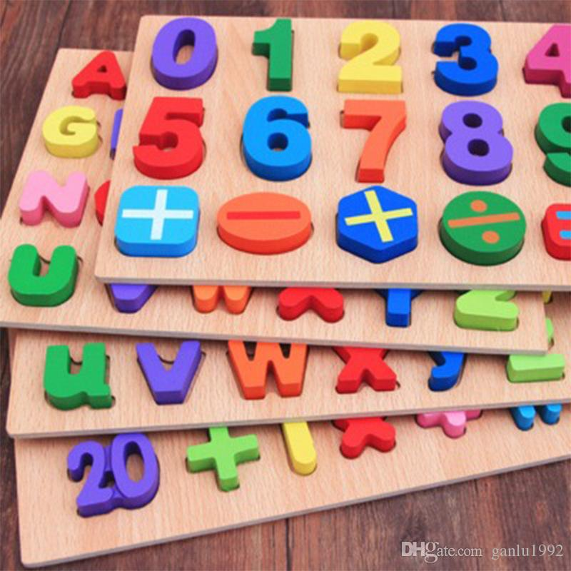 Creative Digital Building Blocks English Alphabet Children Woodiness Hand Clutching Plate Early Childhood Informative Toy For Baby 9 5hh X