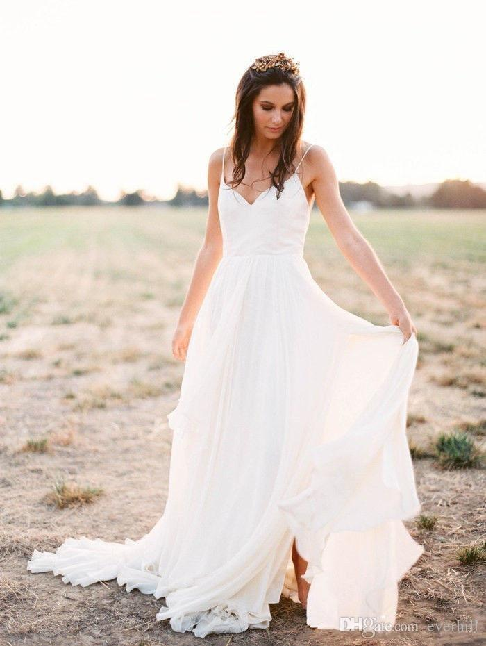 2018 Simple Beach Chiffon Wedding Dresses V-Neck Spaghetti Straps Sexy Split Bridal Wedding Gowns Backless Sweep Train Inspired Bride Dress