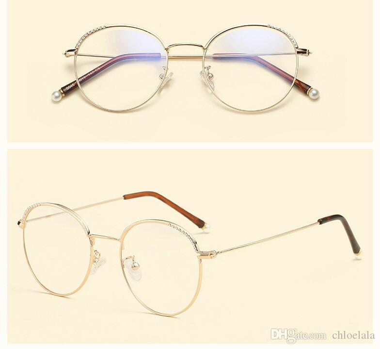 Pearl Diamond Female Korean Round Glasses Glasses Frame Frame Frame ...
