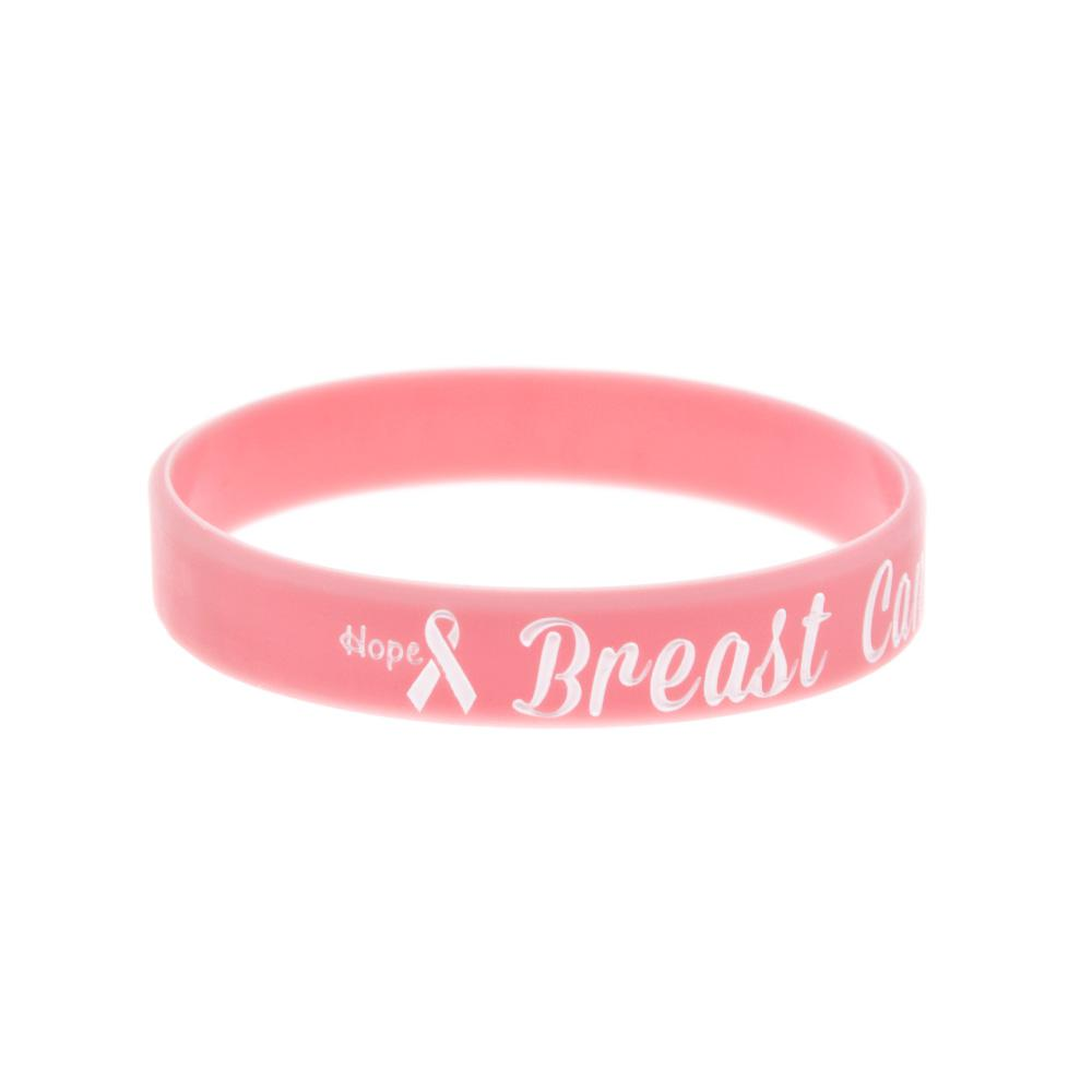 Ink Filled Logo Hope Ribbon Breast Cancer Awareness Silicone Rubber Bracelet Pink Adult Size