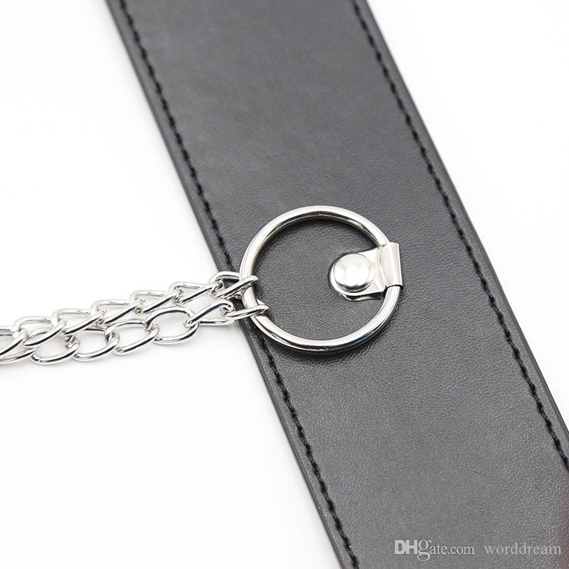 Lockable PU Leather Dog Collar Bondage Slave Restraint Belt In Adult Games Metal Nipples Clamps Fetish Sex Products Toys For Women - HS14