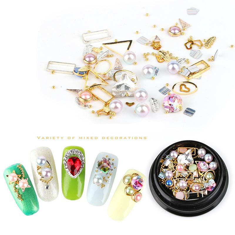 Compre 6 Estilo Marcos De Metal Nail Art Decoraciones De Perlas ...