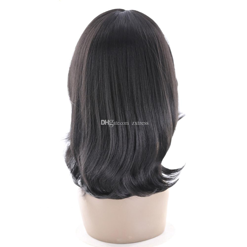 "Cheap Straight Wigs Natural Black Heat Resistant Fiber Synthetic Lace Front Wig 16"" Middle Part Short Bob Wig Perruques For Women"