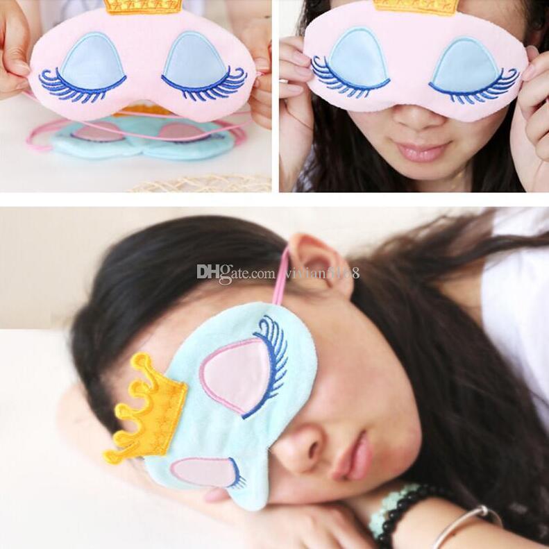 Sevimli Prenses Seyahat Gözbağı Gölge Göz Maskesi Kadınlar Bayan Gilrs Bebek Uzun Kirpikler Taç Fantezi Gözler Uyku Seyahat Kapak Yüzü