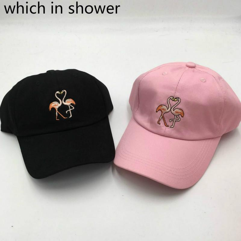 dd61e362623 Which In Shower Cartoon Embroidery Flamingoe Dad Hat Fashion Adjustable  Cotton Baseball Cap For Women Men Snapback Sun Hat Bones Skull Caps Men Hats  From ...