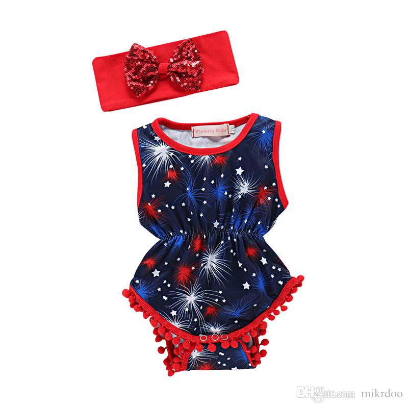 22575a49a Mikrdoo Baby Girls Fashion Clothes Set Sleeveless USA Flag Tassel ...