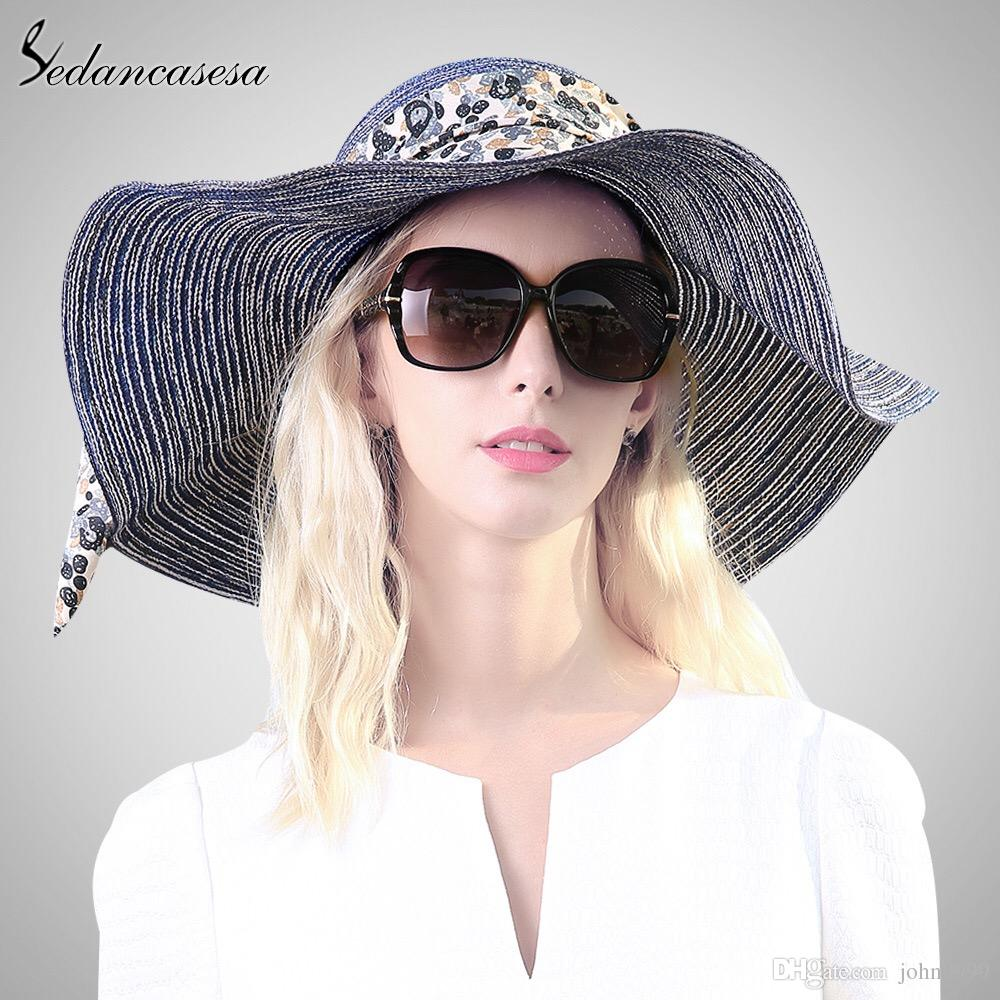 New Sunscreen Folding Big Beach Hat Ladies Summer Travel Seaside ... 1bedd5e6b030