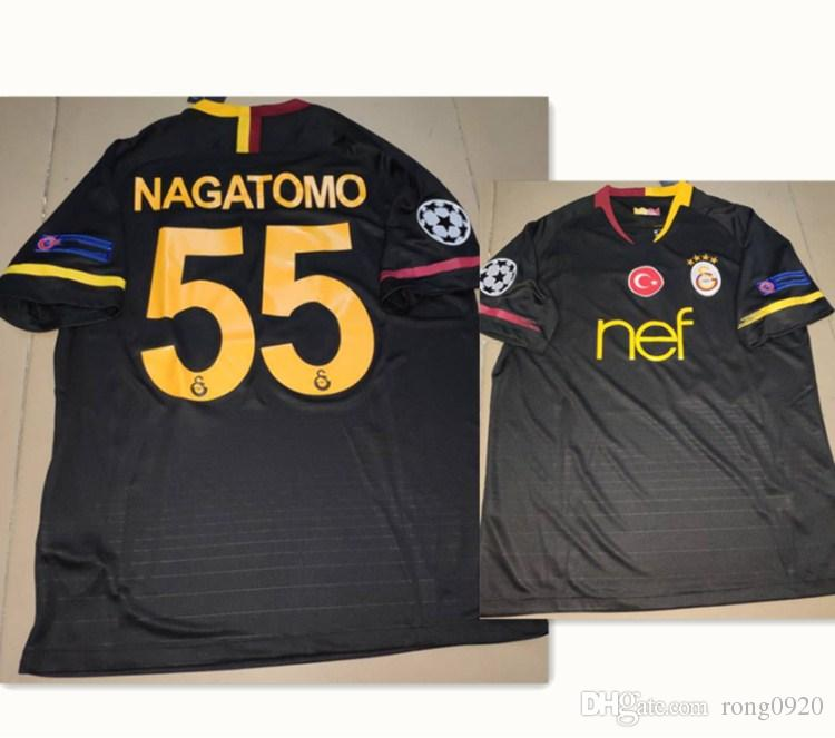 low priced 23087 9ca35 2018 2019 UCL Version Galatasaray Away Soccer Jersey Black #55 NAGATOMO  With Patch Football Shirt Custom name number