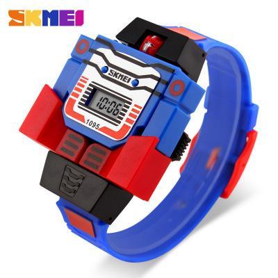 2018 SKMEI Kids LED Fashion Digital Children Watch Cartoon Sports Watches Robot Transformation Toys Boys Wristwatches Relogio Relojes. gift