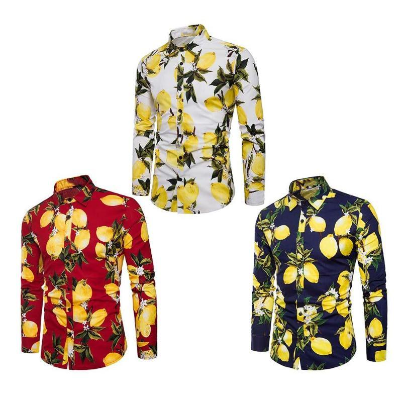 d692d1a6 2019 Summer Men Long Sleeve Casual Lemon Printing Hawaiian Style Beach  Fashion Buttons Turn Down Collar Personalized Slim Fit Shirts From  Manxinxin, ...
