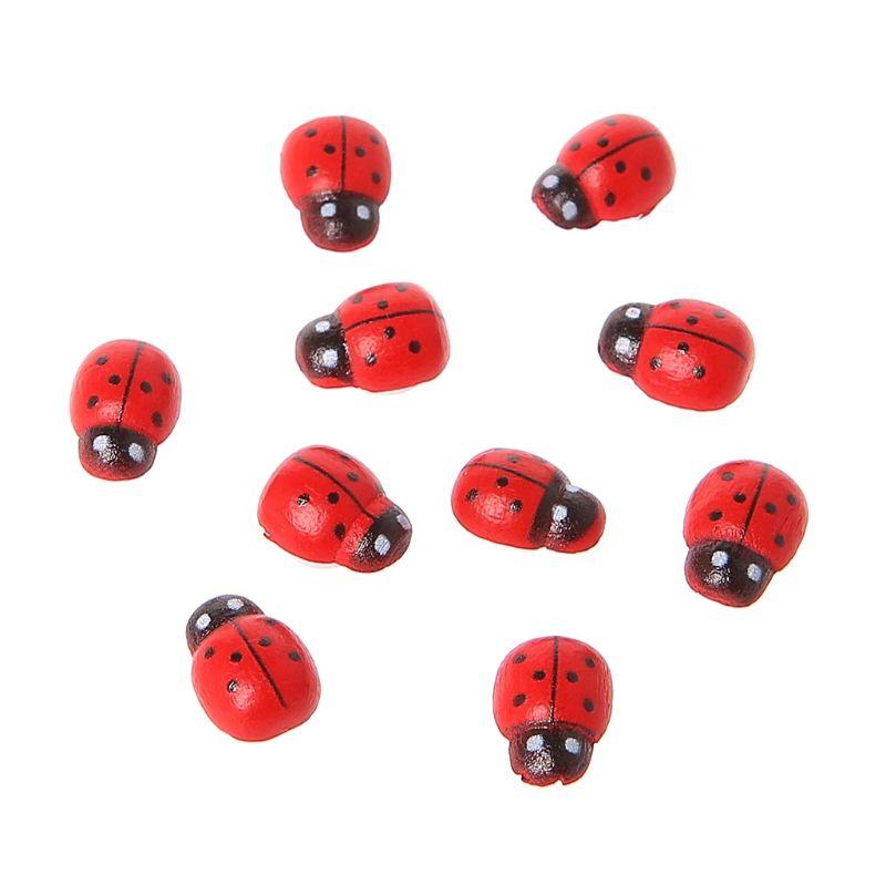 10Pcs Mini Ladybird Red Beetle Fairy Doll House Garden Decor Ornament