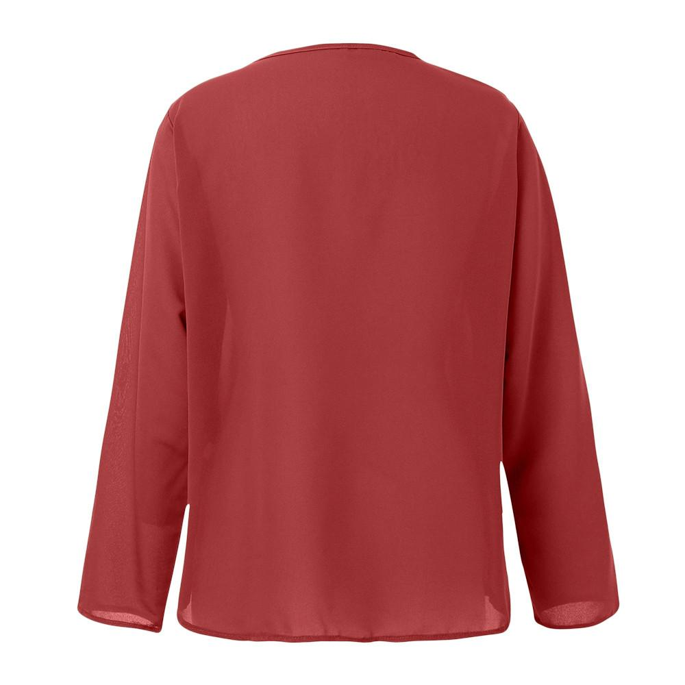ISHOWTIENDA Sexy Top Mulheres Queda roupas de Inverno V Neck Manga Longa Chiffon Camisa vetement femme Senhoras Blusas Blusas Femininas