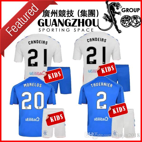 e8909025b 18 19 GLASGOW RANGERS KIDS SOCCER JERSEYS CHILD 2018 HOME AWAY WHITE ...