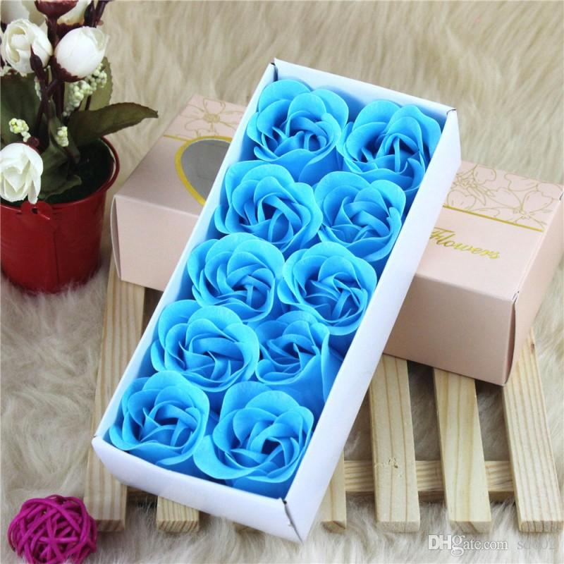Fashion DIY Soap Flower Lifelike Valentines Day Hand Made 10 Rose Soaps Flowers For Birthday Gift With Retail Box 4 5mw B