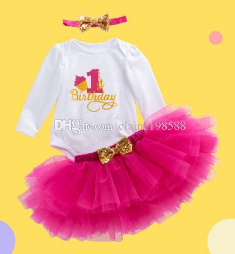 2fcff109b295 Baby Girl 1st Birthday Princess Tutu Skirt 0-24 Month Newborn Infant  Rompers Dresses Cotton Rompers+4 layer Tutu skirt+Headband=3PCS/Set