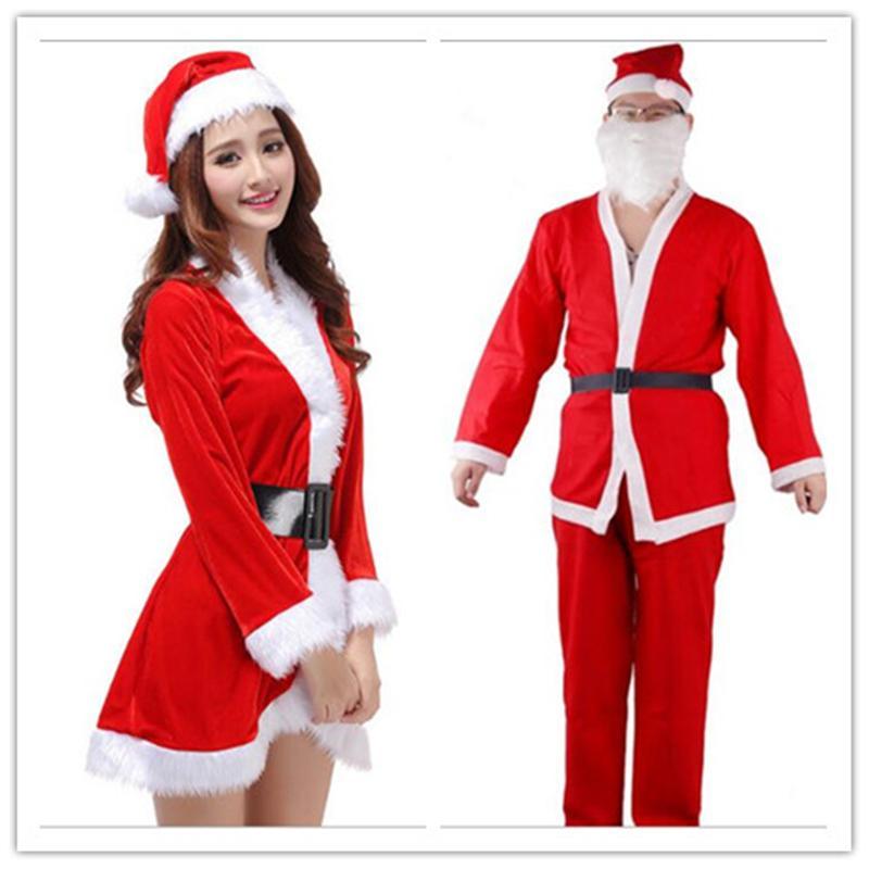 Acquista 2018 Costumi Di Natale Abbigliamento Da Babbo Natale Modelli Di  Donne Adulte Abbigliamento Classico Da Uomo Costume Da Vigilia Di Capodanno  2 Pezzi ... 9b70db8eeec