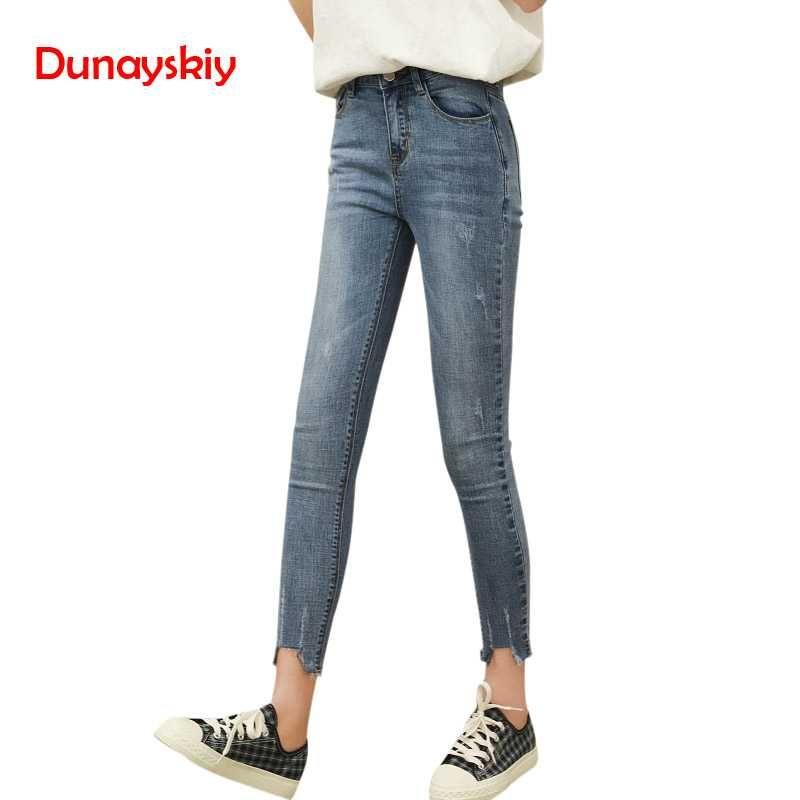 e59e38ca55 Compre Moda Básica Skinny Denim Lápiz Pantalones Casual Vintage Ripped Jeans  Para Mujeres Primavera Otoño Cintura Alta Ropa Jeans Pantalones A  29.14  Del ...