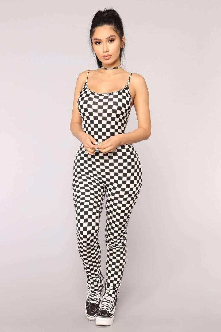 6ca210575ec9 2019 Black White Plaid Splice Sexy Jumpsuit Summer Spaghetti Strap  Sleeveless Skinny Catsuit Lady Fashion Streetwear Bodysuits J1534 From  Benedica