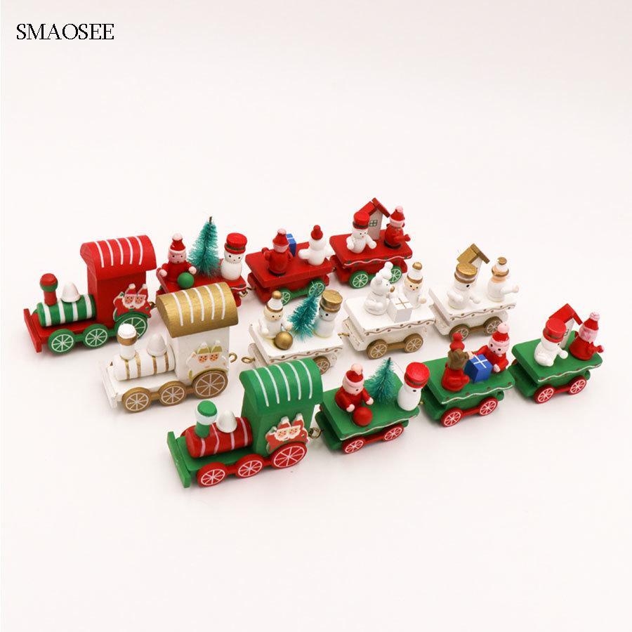 Navidad Santa Snowman Bear Decor Wood Train Table Ornament Toys XMAS For Kids Toy Gift 2018 Christmas Decorations Home Y18102609 Yard