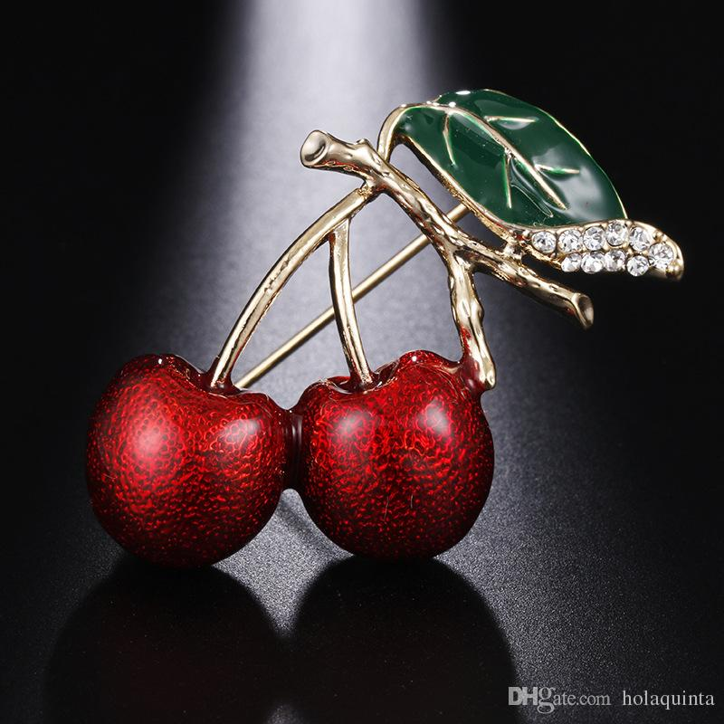 Cute Lovely Green Leaves Cherry Brooch Red Drop Oil Corsage Daily Wear For Women Gift