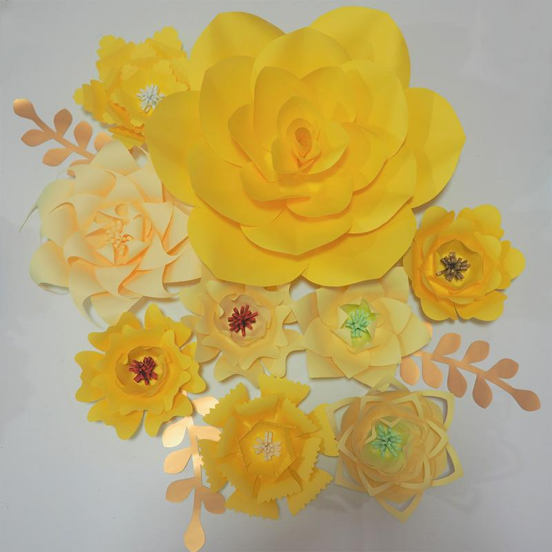 Easy Diy Yellow 9pcs Giant Paper Flowers Backdrop 3pcs Leaves For Wedding Event Baby Nursery Artificial Decorative Flower