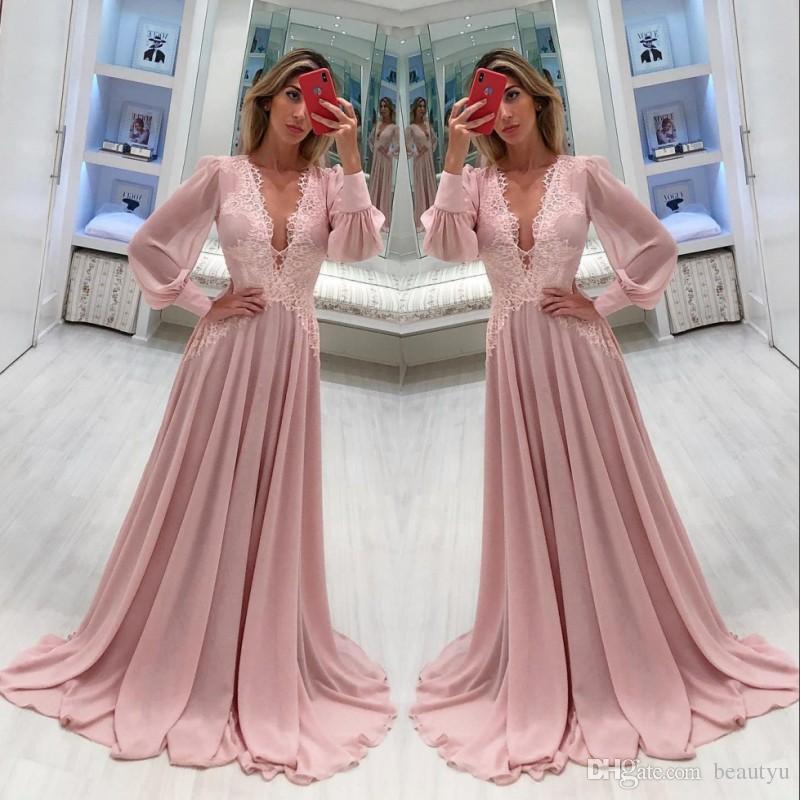 419ff249e Elegante encaje gasa madre de la novia vestidos mangas largas una línea con  cuello en v madre de la novia vestido de novio vestidos de noche formales  ...