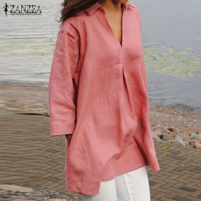 2508576f391 2019 ZANZEA Women Tops 2018 Autumn Solid Shirts Cotton Blouses Casual Loose  V Neck Fashion Sexy Blusas Femininas Plus Size S 5XL Y1891302 From  Zhengrui01