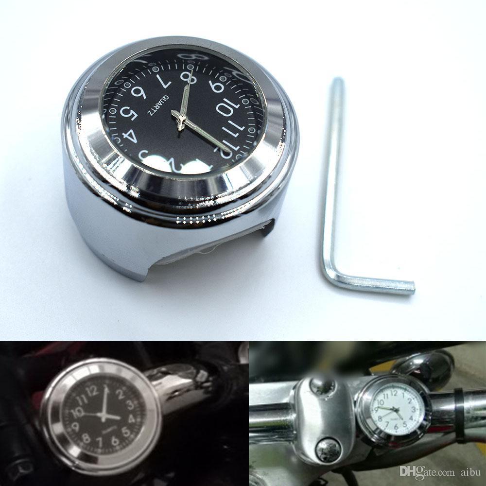 5fd897998 Compre Para 7/8 '' 1 '' Universal Motocicleta Manillar Ver Escalada Temp  Termómetro Reloj Relojes De Motocicleta Dial Reloj Impermeable Chrome Motor  A $9.24 ...
