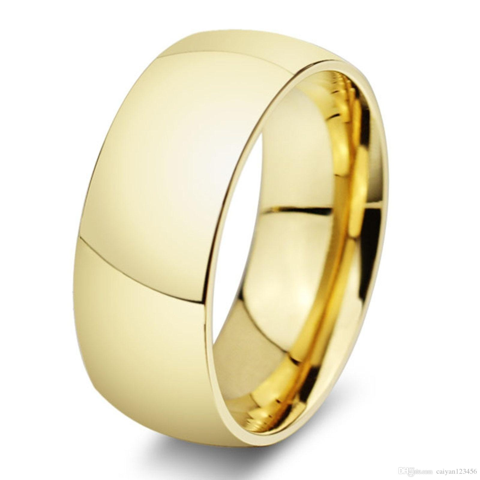 15b4264b57f Classic Wide 8mm Men Wedding Gold Rings Real 18K Gold Filled 316L Titanium  Finger Rings For Men NEVER FADING USA Size 6 14 A51 20 Engagement Rings For  Women ...