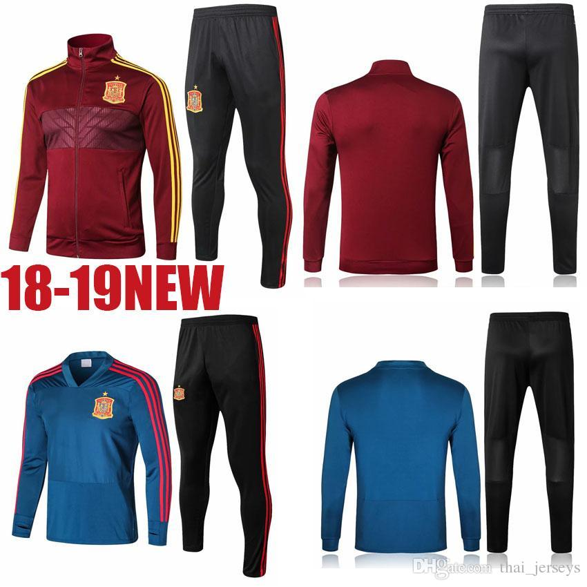 b1af7634a8c 2019 2018 World Cup Spain Football Jacket Long Soccer Training Suit Kit  Tracksuit Sportswear Chandal Set Custom Home Red ASENSIO ESPANA INIESTA  From ...