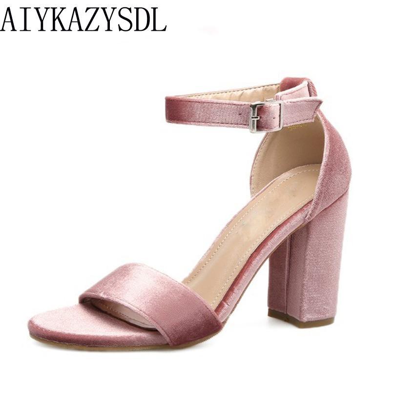 563e12d1d836 AIYKAZYSDL Women Pumps Sandals Velvet Shoes Ankle Strap Block Thick High  Heel Wedding Bridal Dress Concise Shoes Woman Pump Pink Designer Shoes  White Shoes ...