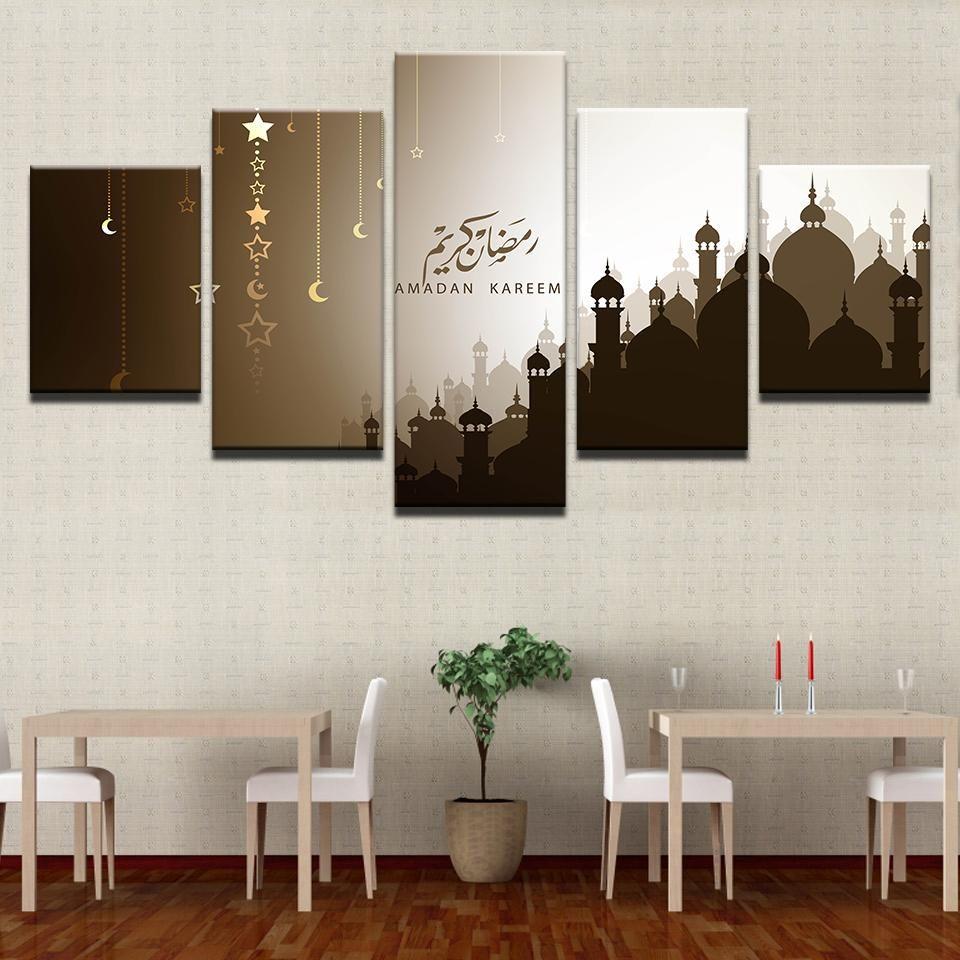 Acheter 5 Panel Ramadan Kareem Moon Stars Arabe Moderne Décoration Murale  Affiches Salon HD Imprimé Peinture Art Images Accueil De $10.06 Du  Z1151832585 ...
