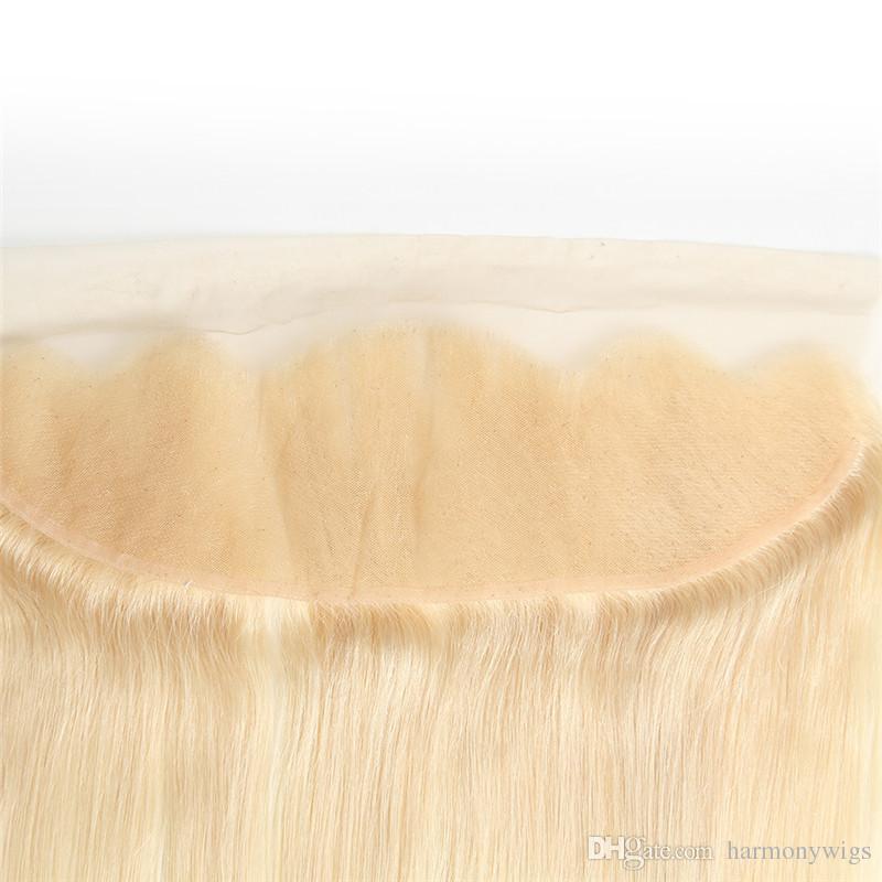 Virgin Brazilian Hair Frontal 613 Blonde 13X4 레이스 정면 스트레이트 바디 인도 페루 말레이시아 인모