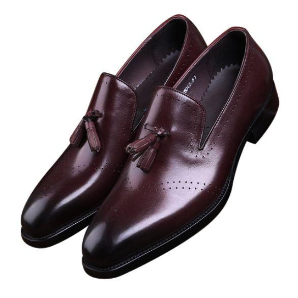 new product 8ba35 d9a58 Schwarz / Braun Casual Business Schuhe Herren Kleid Schuhe Aus Echtem Leder  Goodyear Welt Jungen Prom Mann Hochzeit Mit Quaste