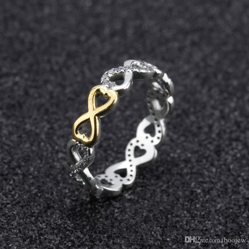 2018 New Fashion 925 Sterling Silver Infinite Love Stackable Ring With Clear Cubic Zirconia For Women Jewelry Gift