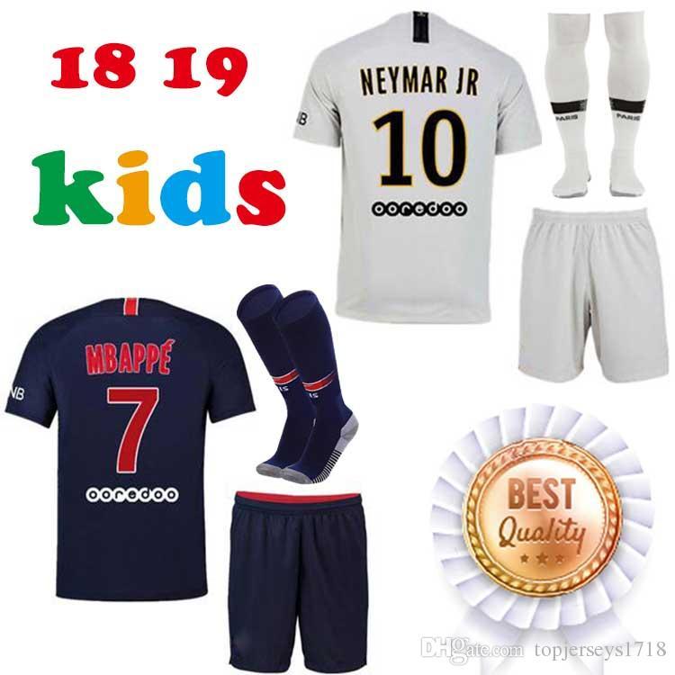 18 19 PSG NEY MAR JR MBAPPE Kids Kit Home Away Soccer Sets CAVANI Verratti  2018 2019 Seasons Paris Saint Germain Boys Child Jersey Canada 2019 From ... b0a2cf4c2