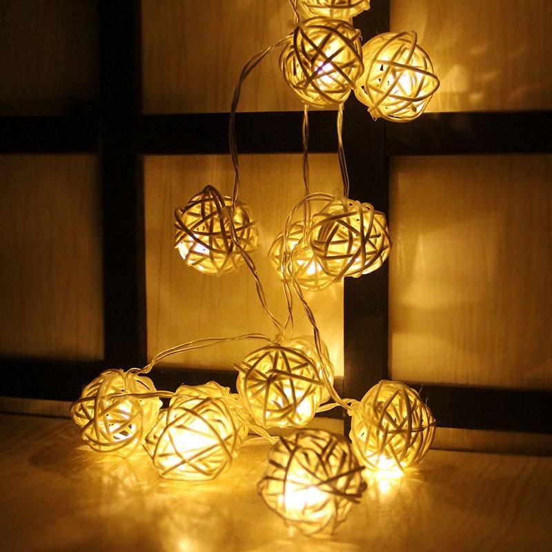 online store ef130 9f73c 3Meter 20 Rattan Ball Led String Fairy Lights Christmas Tree Ornaments Xmas  Decoration Warm White LED Lights Home Garden Decor