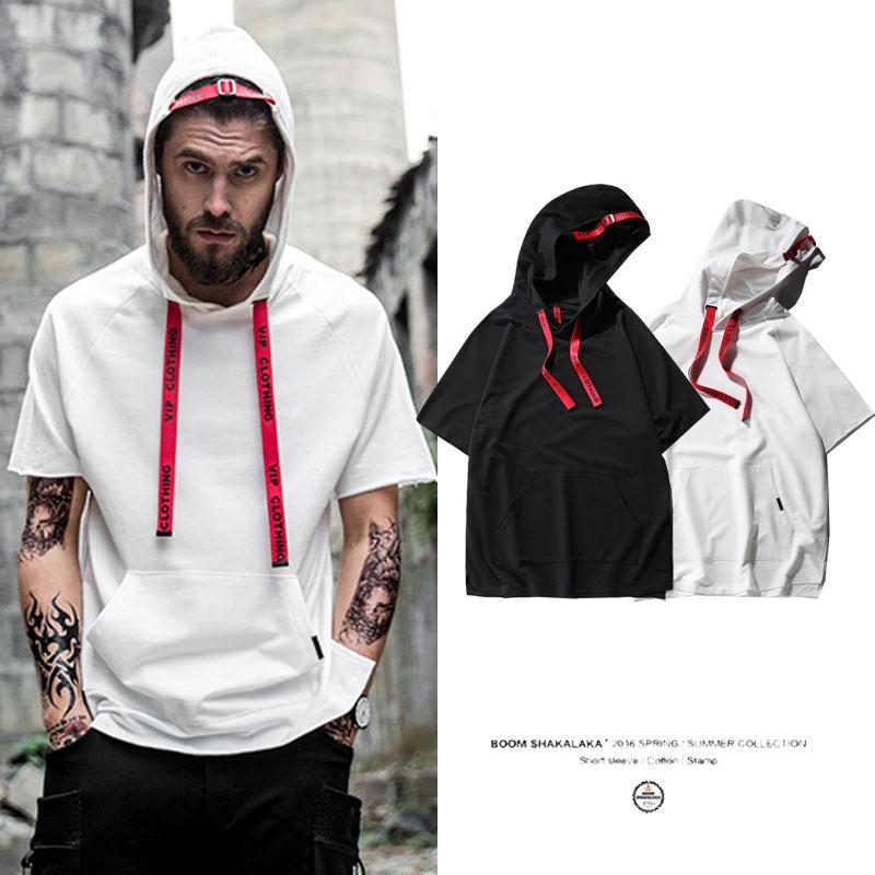 Summer Thin Hoodies Men S Sunny T Shirt With Cap Pocket Black White