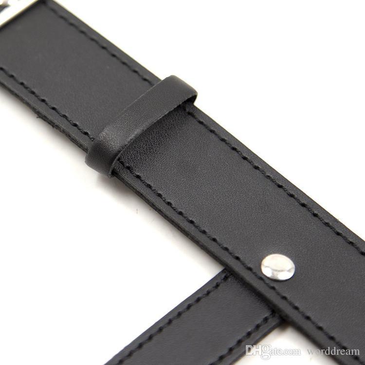 BDSM PU Cuero Collar de perro Esclavo Bondage Cinturón Pezones de metal Abrazaderas Fetiches Productos eróticos para adultos Juguetes para mujeres y hombres - HS34