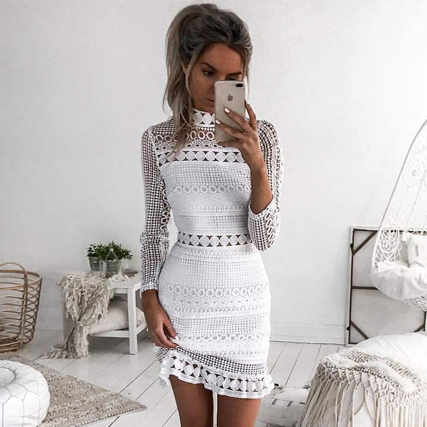 81ce82f28efe Acheter Nouveau Mode Femmes D été À Manches Longues Dentelle Blanche Soirée  Robes Mini Robe Courte De  27.1 Du Edmund02