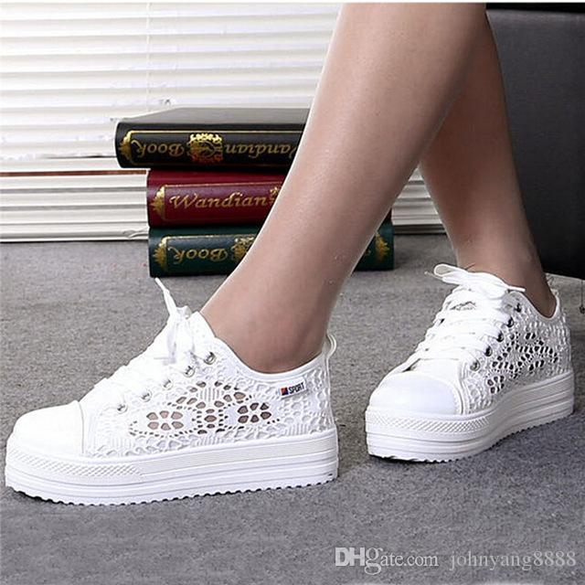 a41130936f78c2 Women Shoes 2018 Fashion Summer Casual Ladies Shoes Cutouts Lace Canvas  Hollow Breathable Platform Flat Shoes Women Sneakers Sport Shoes Skechers  Shoes From ...