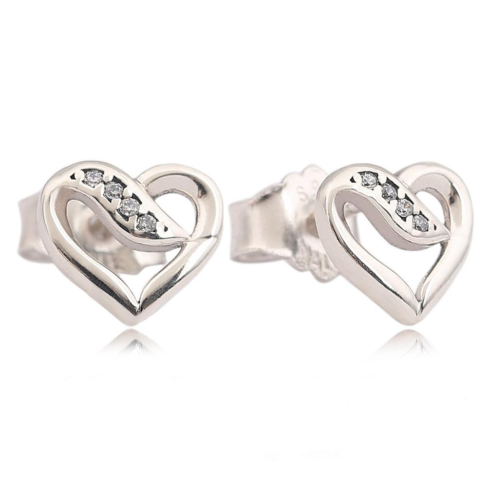 bed160cb8 Real 925 Sterling Silver Ribbons of Love Stud Earrings, Clear CZ For ...