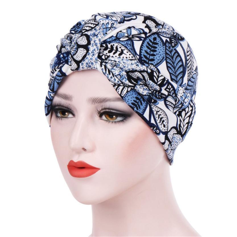 Compre Mulheres Índia Muçulmano Trecho Turbante Chapéu De Impressão Floral  De Algodão Cabeça Do Cabelo Cachecol Envoltório Caps Senhoras Femininas  Praia ... 92fdc38a2f1