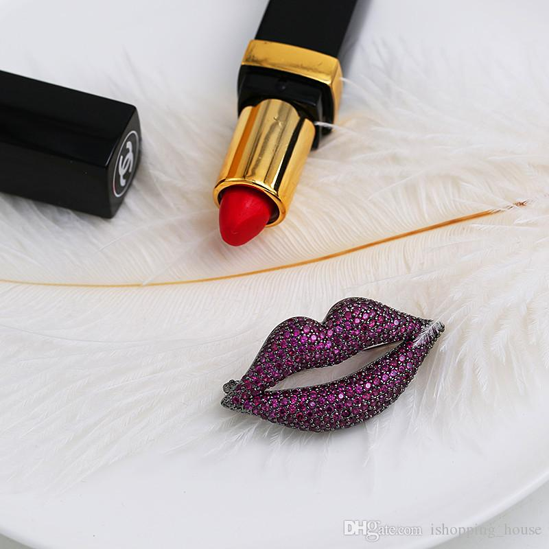 Charming Women Party Dress Brooch Pin CZ Lip Lipstick Angle Heart Brooch Pin for Girls Women Nice Gift for Girl Friend NL-621